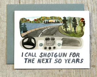I Call Shotgun Greeting Card, Watercolor Valentine Card, Anniversary Card, Love and Adventure Card by Little Truths Studio