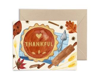 Thankful Pumpkin Pie Greeting Card, Thanksgiving, Fall , Gratitude Watercolor Notecard by Little Truths Studio