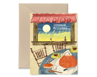 Samhain Blessings Greeting Card, Fall, Halloween, Watercolor Notecard by Little Truths Studio
