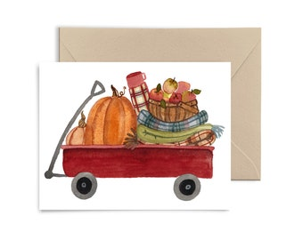 Pumpkin Wagon Greeting Card, Autumn notecard, Apples, Fall Watercolor Card by Little Truths Studio