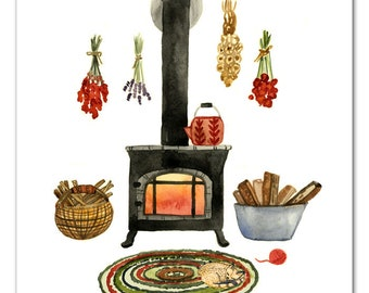 Wood Stove Watercolor Art Print, Wall Art by Little Truths Studio