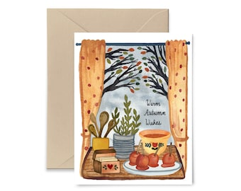 Warm Autumn Wishes Greeting Card, Caramel Apples, Fall Watercolor Notecard by Little Truths Studio