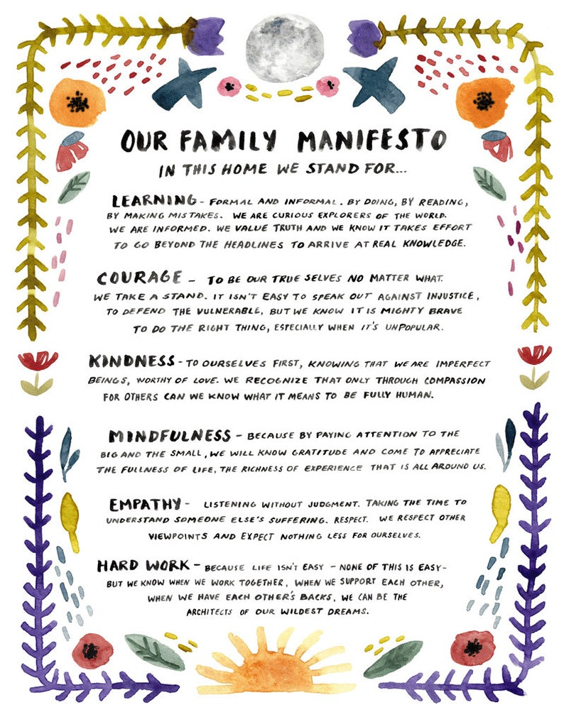 Family Manifesto Art Print Watercolor Poster Peaceful image 0