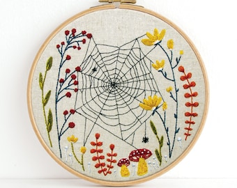Woven Embroidery Kit, SHIPS IN 2 WEEKS- Spiderweb Modern Hand Embroidery Full Kit - Hoop Wall Art
