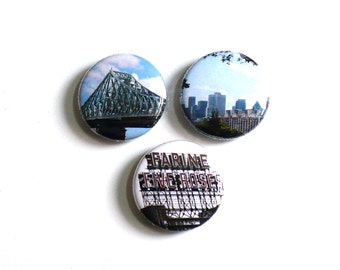 Set of 3 Photo Magnets, Montreal Landmarks Refrigerator Fridge Magnets, Fine Art Kitchen or Office Decor