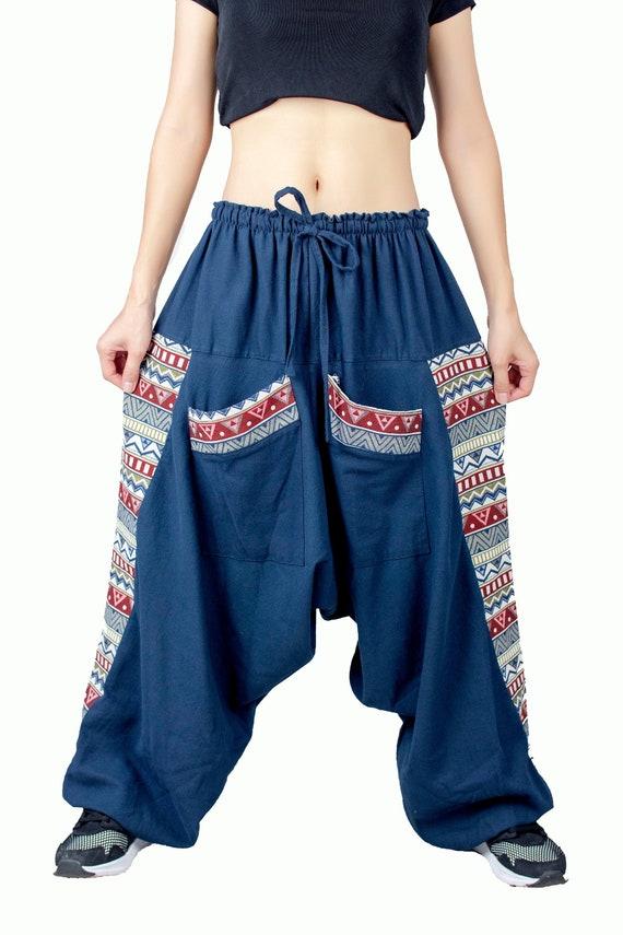 Harem Pants Hippie Pants Yoga Trousers Blue Boho Aladdin Genie Gypsy Loose Ladies Ohm Om Aum Cotton Festival