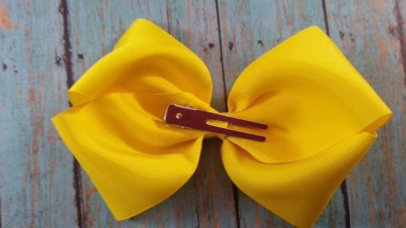 Dark Yellow Hair Bow Large Yellow Hair Bow Large Solid Dark Yellow Hair Bow Big Yellow Bow Little Girl Dark Yellow Hair bow.