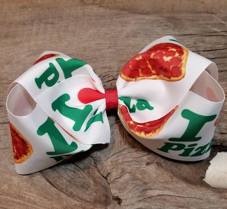 I love Pizza I love pizza 6 inch hair bow 6 pizza bow Pizza party accessories Big Pizza Hair bow Pizza Hair bow Heart pizza hair bow