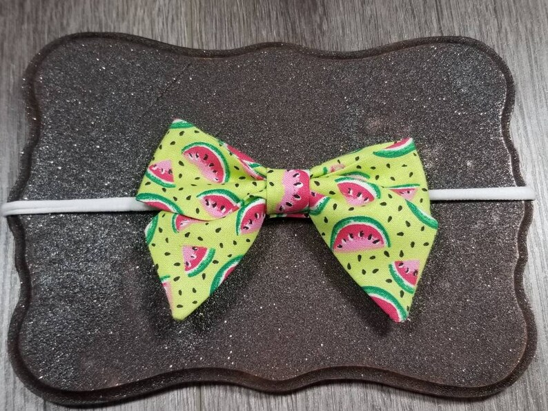 Sailor watermelon bow Watermelon hair bow Sailor watermelon bow nude nylon headband or alligator clip Sailor pigtail bows Toddler bows.