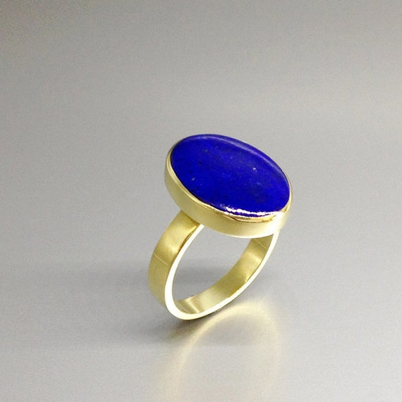 solitaire gemstone ring Classic Lapis Lazuli ring with Sterling silver solid gold gift idea AAA Grade stone blue and silver