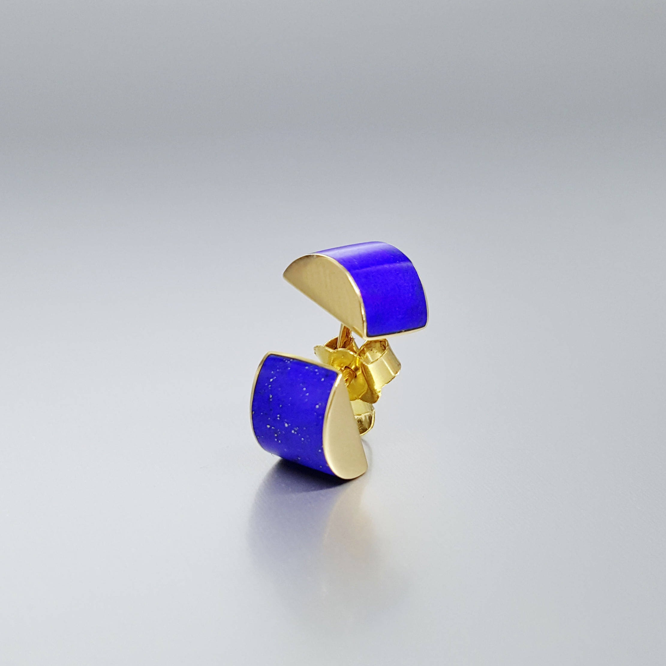 9844225e0 Modern stud earrings with Lapis Lazuli and 18K gold - inlay work - gold and  blue - minimal design - solid gold - gift Christmas - natural