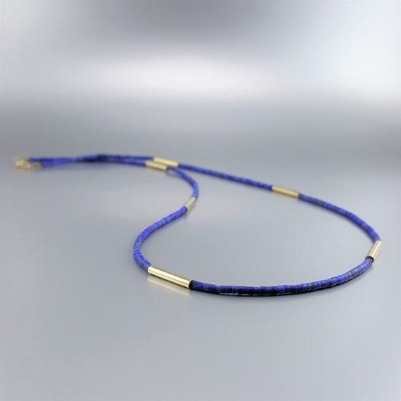 Bleu lapis lazuli Boucles d/'oreilles bracelet collier 43cm parure