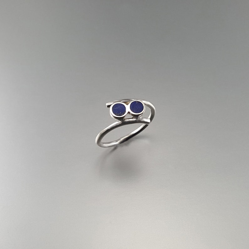 unique gift for her round dual stones inlay work-natural afghan gemstone  anniversary gift Playful Lapis Lazuli ring with Sterling silver