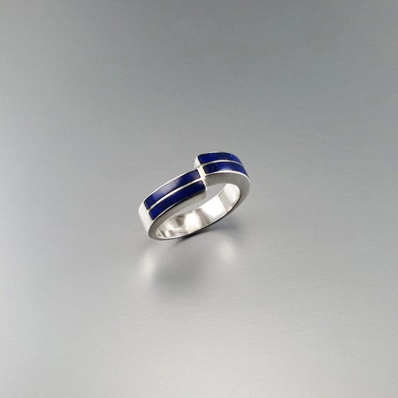 blue and silver Classic Lapis Lazuli ring with Sterling silver AAA Grade stone gift idea solitaire gemstone ring solid gold