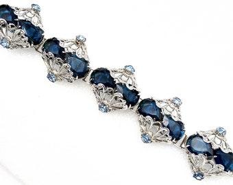 Signed Bijoux Glass Opal Deep Blue Topaz Czech Rhinestone Chunky Bracelet