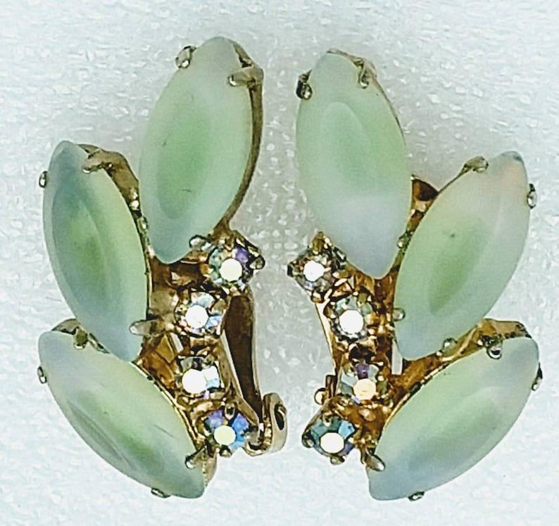 Lime Green Givre/' Satin Glass and Aurora Borealis Rhinestones! Rhinestone Brooch and Earrings Set