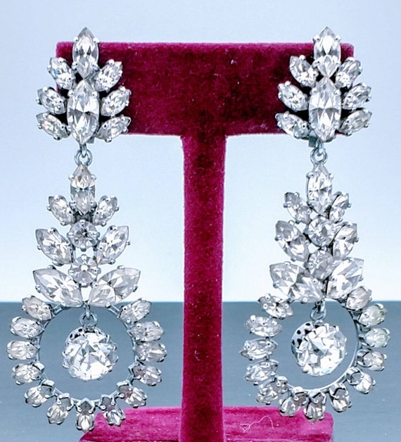 ON SALE Dangling Icy Crystal Rhinestone Clip Earri