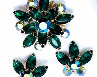 Vintage Rhinestone Brooch & Earrings Demi Parure Set Emerald Green and Blue Green Aurora Borealis