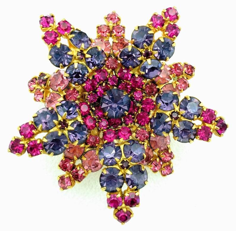 Pink and Purple Rhinestones Flower Brooch and Earrings Set Demi Parure