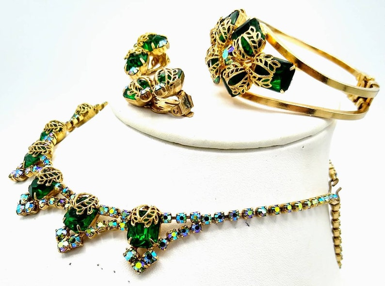 Earrings Set with Filigree Leaves Clamper Bracelet Blue Aurora Borealis Rhinestones Necklace Verified Juliana Green Rhinestone Parure