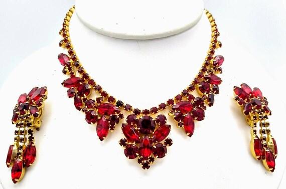ON SALE Juliana Red Rhinestone Necklace and Dangli