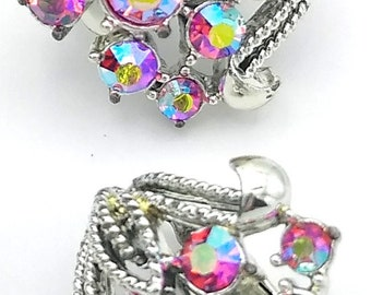 Signed Coro Earrings, Pink Aurora Borealis Rhinestone Clip Earrings!