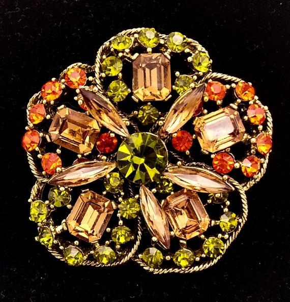 SALE     Gorgeous Emmons Silver Tone Brooch orange and green Rhinestones Dark and light topaz