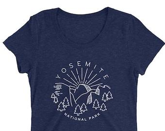 Yosemite T-Shirt National Parks Triblend Tee - yosemite art, national parks art, nature lover gift, yosemite gift, camping nature t-shirt
