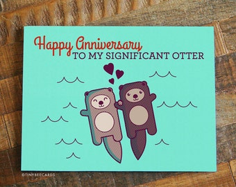 Funny anniversary card etsy cute anniversary card significant otter funny anniversary card i love you happy anniversary for boyfriend girlfriend husband or wife m4hsunfo