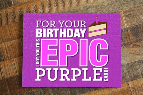 Funny Gamer Card Epic Purple Geeky Birthday