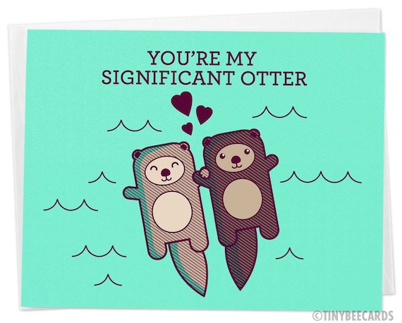 You/'re My Otter Half Valentines Day Greeting Card Watercolor Baby Animal Pun Card