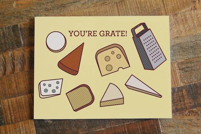 """Cheese Pun Card """"You're Grate"""" - Funny Card, Thinking of You Card, Foodie Card, Food Lover, Swiss Cheese Cheddar Cheese, Gift Card, Food Art"""