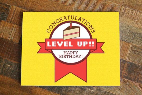 Gamer Birthday Card Level Up Funny Birthday Nerdy Birthday Etsy