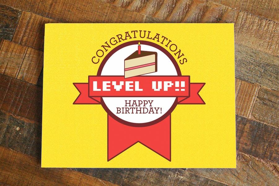 Gamer Birthday Card Level Up Funny Nerdy