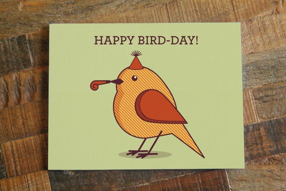 Cute Birthday Card Happy Bird Day Funny Birthday Etsy