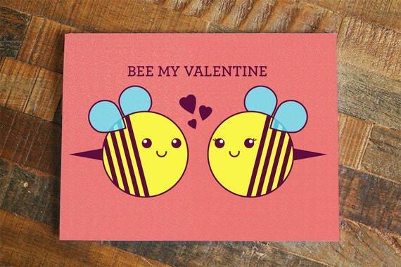 Valentines Day Card Bee My Valentine Cute Bees Etsy