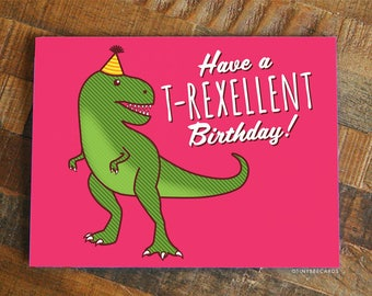 Card With Dinosaurs Etsy
