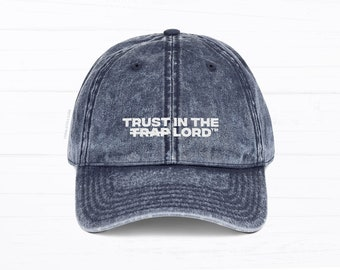 b9857028fabad Trust in the Lord Dad Hat • Embroidered Stitching • Blue and Maroon Denim •  Adjustable