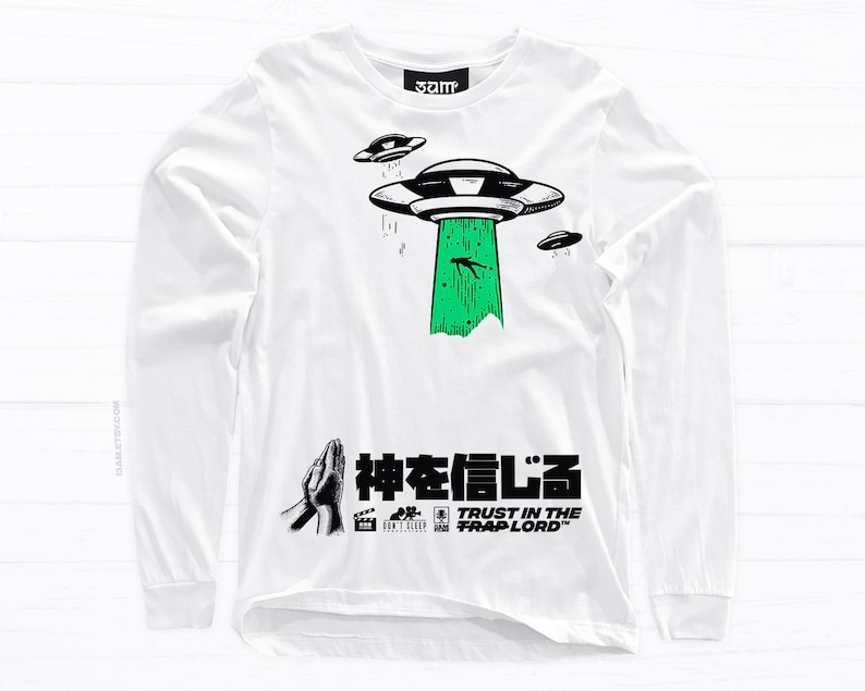 7133ab789c6cc Trust Long Sleeve T-shirt • Aliens, Religious, Prayer, Kanji • Unisex Tees