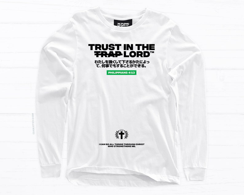 f0354758e2744 All Things Long Sleeve T-shirt • Philippians Religious Design • Japanese  Bible Verse • Unisex Tees