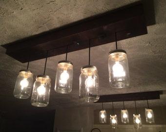 Merveilleux 5 Pendant Mason Jar Chandelier, Kitchen Lighting, Mason Jar Light Fixture,  Chandelier, Mason Jar Light, Pendant Light, Dining Room Lighting