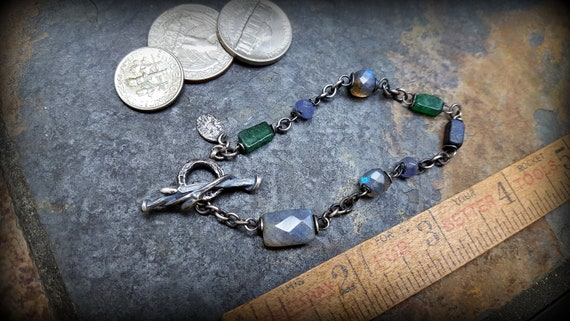 Grey LABRADORITE Gemstone /& PEARL Coin Silver Linked Bracelet ~ toggle clasp