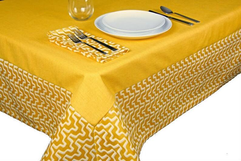 Lemon Yellow Geometric Tablecloth  The Lisa Collection