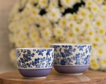 Lilac cereal bowl - blue roses