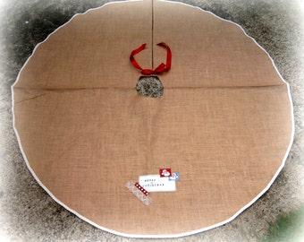Hessian/Burlap/Jute  Christmas Tree Skirt/Personalized/Rustic Christmas/Holiday Tree decoration/Natural Christmas/matching design/Tree skirt