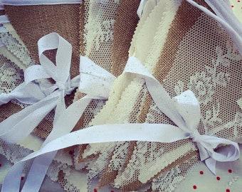Rustic Hessian, Lace & Calico Wedding Bunting BannerWedding Decoration/rustic  wedding decor/Barn wedding/Burlap/Natural wedding Garland/