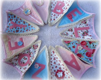 Personalised Lace Bunting Blue/pink Vintage Theme/Lace/Baby Girls bunting/Baby Shower/Nursery Decor/Christening Naming ceremony/Gift Idea