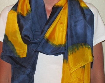 """Silk Scarf, 22""""x72"""", Abstract Collection-Navy/Gold"""