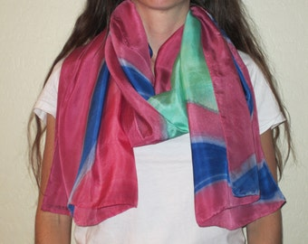 """Silk Scarf, 22""""x72"""", Abstract Collection-Pink/Blue/Teal"""