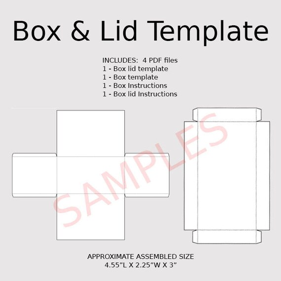 Digital Rectangle Box & Lid Templates Instant Download PDF | Etsy